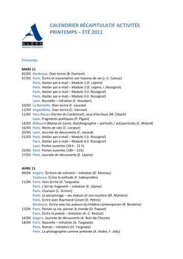 CALENDRIER RÉCAPITULATIF ACTIVITÉS PRINTEMPS – ÉTÉ 2011