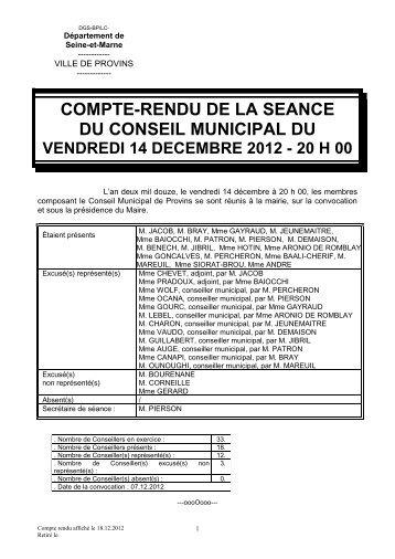 COMPTE-RENDU DE LA SEANCE DU CONSEIL MUNICIPAL DU
