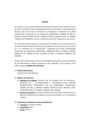 Anunci de licitació del concurs - Consell Comarcal del Maresme
