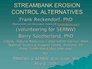 STREAMBANK EROSION CONTROL ALTERNATIVES