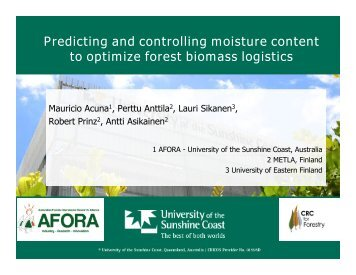 Predicting and controlling moisture content to optimize forest biomass logistics