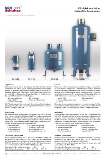 Flüssigkeitsabscheider Suction Line Accumulators - ESK Schultze