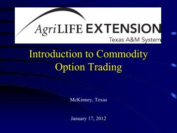 Introduction to Commodity Option Trading