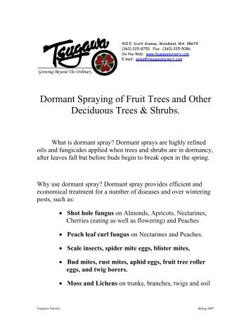 Dormant Spraying Of Fruit Trees And Other Deciduous Shrubs