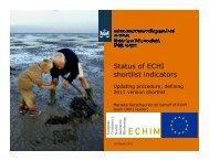 Status of ECHI shortlist indicators