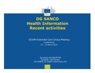 DG SANCO Health Information Recent activities