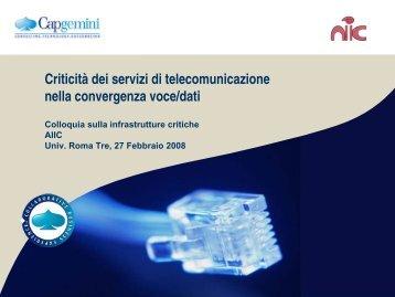 Criticità dei servizi di telecomunicazione nella convergenza voce/dati