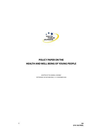 POLICY PAPER ON THE HEALTH AND WELL BEING OF YOUNG PEOPLE