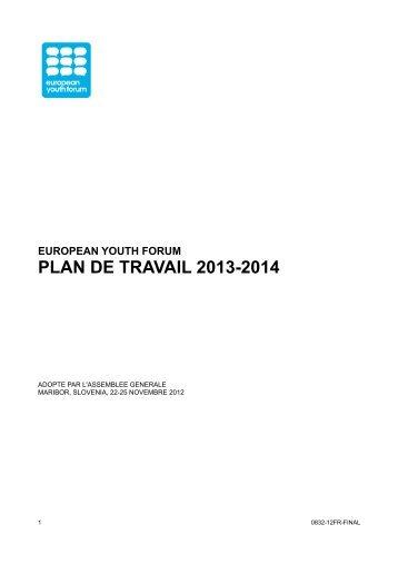 PLAN DE TRAVAIL 2013-2014