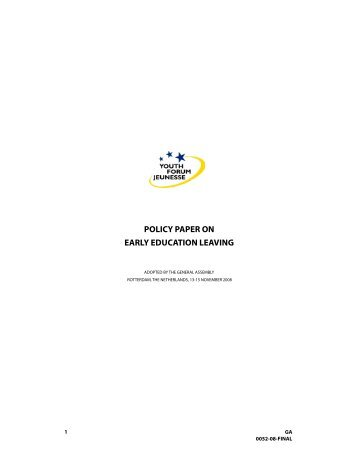 POLICY PAPER ON EARLY EDUCATION LEAVING