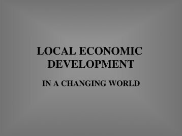 LOCAL ECONOMIC DEVELOPMENT