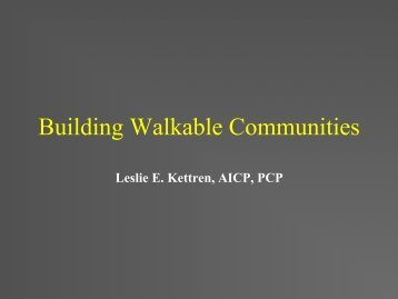 Building Walkable Communities