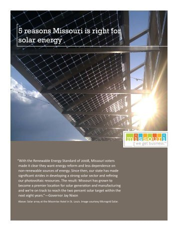 5 reasons Missouri is right for solar energy