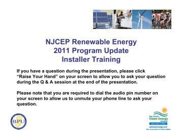 NJCEP Renewable Energy 2011 Program Update Installer Training