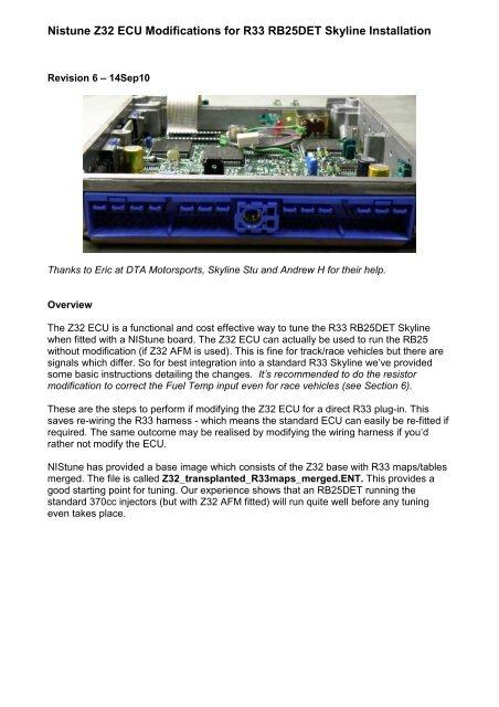 Nistune Z32 Ecu Modifications For R33