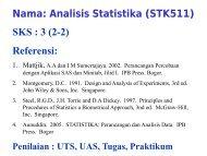Nama Analisis Statistika (STK511) SKS  3 (2-2) Referensi