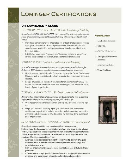 Download Lominger Certification Larry Clark Group