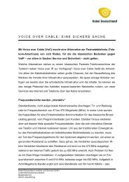 VOICE OVER CABLE: EINE SICHERE SACHE - Kabel Deutschland