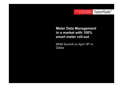Meter Data Management in a market with 100% smart meter roll-out