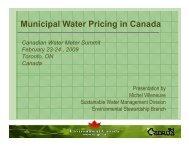 Municipal Water Pricing in Canada