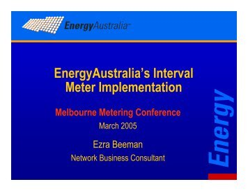 EnergyAustralia's Interval Meter Implementation