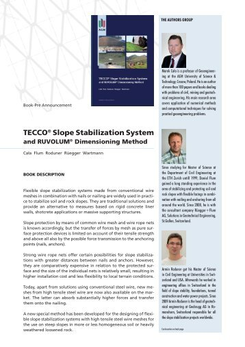 TECCO® Slope Stabilization System and RUVOLUM - Geobrugg AG