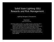Solid State Lighting i (SSL) Rewards and Risk Management