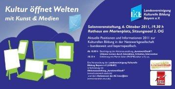 Kultur öffnet Welten mit Kunst & Medien - LJKE Bayern