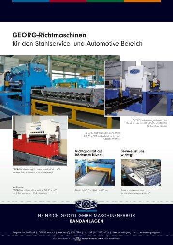 GEORG-Richtmaschinen für den Stahlservice- und Automotive ...
