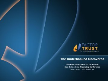 The Underbanked Uncovered