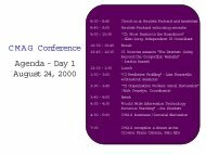 C M A G Conference Agenda - Day 1 August 24 2000