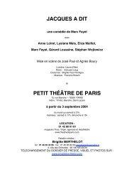 JACQUES A DIT PETIT THÉÂTRE DE PARIS