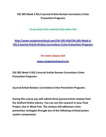 crj 305 crime prevention Crj 101 introduction to criminal justice (a) covers the nature  crj 305  adjudication process (a) prerequisite:  crj 431 crime prevention and control  (a.