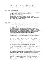 Satzung des Vereins Ärztenotdienst Koblenz