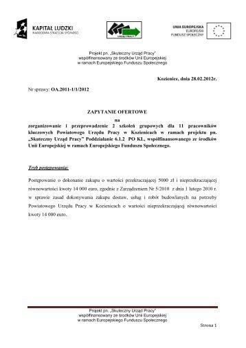 Zapytanie ofertowe szkolenia - PUP Kozienice