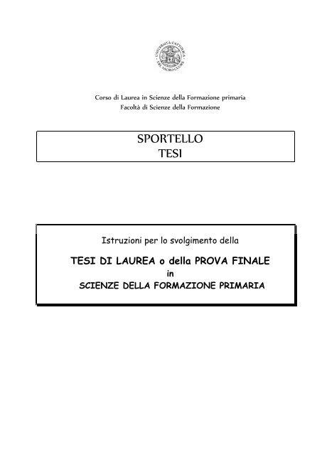 Sportello Tesi