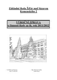 Základní škola Žďár nad Sázavou Komenského 2 VÝROČNÍ ...