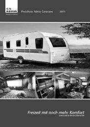 Preisliste Adria Caravans 2011 Freizeit mit noch mehr Komfort - Reimo