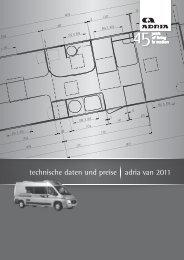 technische daten und preise adria van 2011 - Freizeit & Caravan