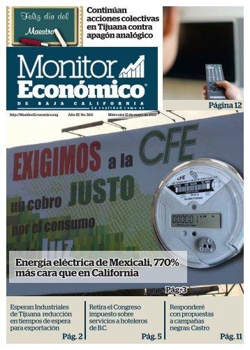Energía eléctrica de Mexicali 770% más cara que en California