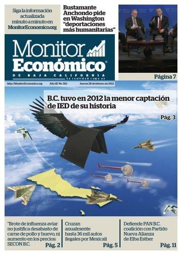 B.C tuvo en 2012 la menor captación de IED de su historia