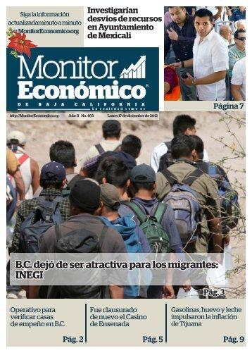 B.C dejó de ser atractiva para los migrantes INEGI