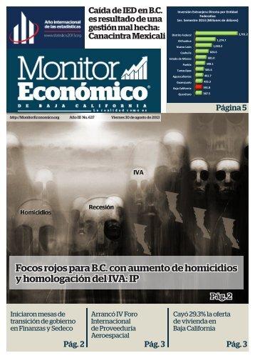 Focos rojos para B.C con aumento de homicidios y homologación del IVA IP