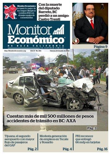 Cuestan más de mil 500 millones de pesos accidentes de tránsito en BC AXA