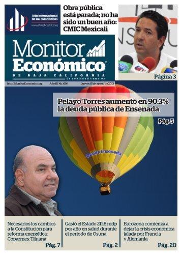Pelayo Torres aumentó en 90.3% la deuda pública de Ensenada
