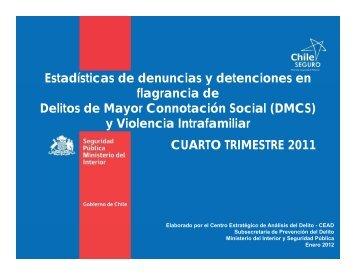Estadísticas de denuncias y detenciones en flagrancia de Delitos de ...