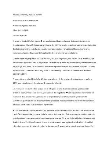 Yolanda Martínez / De clase mundial Publicación - Centro de ...