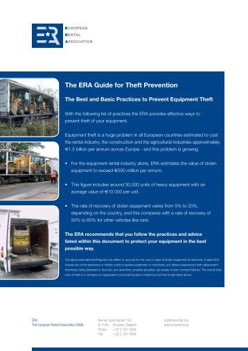 The ERA Guide for Theft Prevention