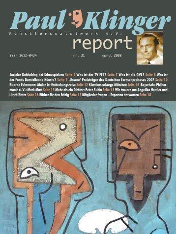Heft 31/08 Download PDF - Paul-Klinger-Künstlersozialwerk eV