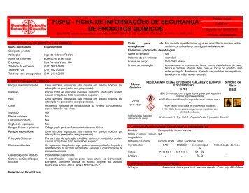 FISPQ - FICHA DE INFORMAÇÕES DE SEGURANÇA DE PRODUTOS QUÍMICOS